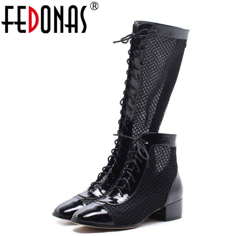 FEDONAS Women Fashion Rome Style Summer Boots Sexy Genuine Leather+Mesh Sexy Round Toe Sandals Ladies Lace-Up Sexy Shoes New front lace up casual ankle boots autumn vintage brown new booties flat genuine leather suede shoes round toe fall female fashion