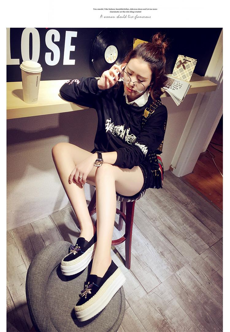Big Size Women Platform Loafers Crystal Genuine Leather High Quality Pointed Toe Flats Shoes For Women Slipony Women Rhinestone  (10)