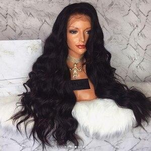Image 5 - Anogol Uzun Vücut Dalga 26 Inç Uzun Siyah Peruk Sentetik Dantel ön peruk Bebek Saç Ile Yüksek Sıcaklık Fiber Saç Peruk kadınlar için