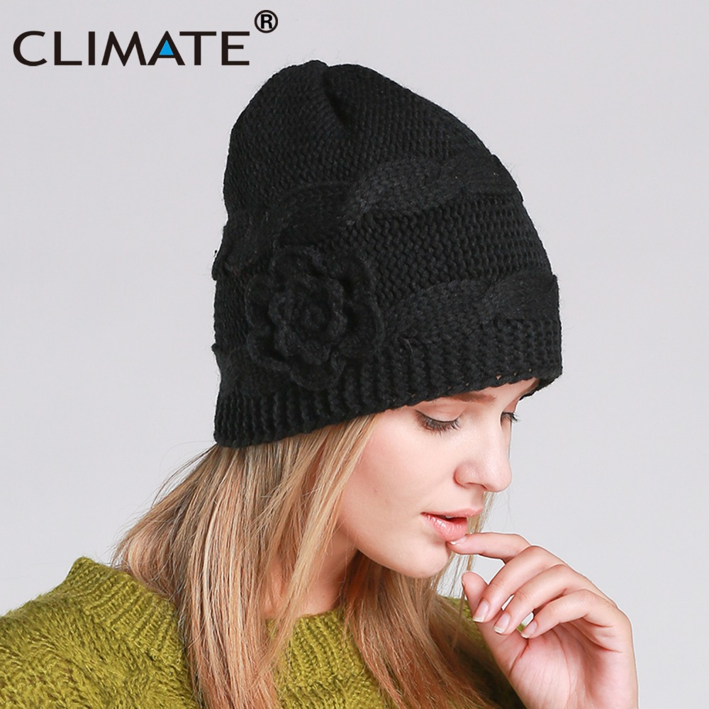 CLIMATE Women Girls Winter Warm Beanie Hat Women Black Color Flower Knitted Hat  Beanie Nice Warm Beanie Hat For Women Girls-in Skullies   Beanies from ... 0fed561b25