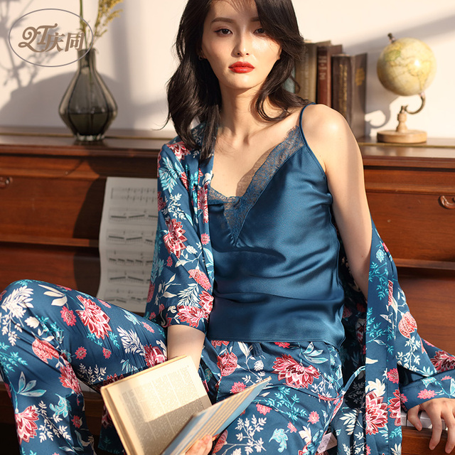 a3c78f214e Spring and Summer Womens Pajamas Cotton Sexy Lace Sleepwear Suspenders  Seven-part Sleeves Long Trousers