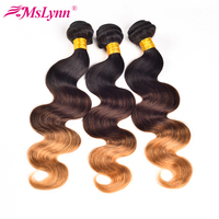 T1B/4/27 Ombre Brazilian Hair Weave Bundles Body Wave Hair 3 Tone Black Brown Blonde Human Hair Bundles Mslynn Non Remy Hair 1PC