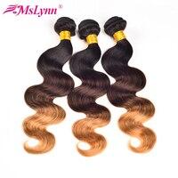 Mslynn Ombre Hair Brazilian Body Wave Bundles T1B 4 27 3 Tone Non Remy Human Hair