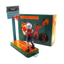 Ретро коллекция оловянные игрушки mkd3 детские металлические ветрозащитные авто модели роботы железная, ручной работы Механическая игра в баскетбол