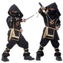 Crianças ninja trajes halloween festa meninos meninas guerreiro discrição crianças cosplay assassino traje
