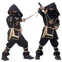 Niños warrior sigilo ninja disfraces halloween party niños niñas niños cosplay traje de assassin para niños regalos del día