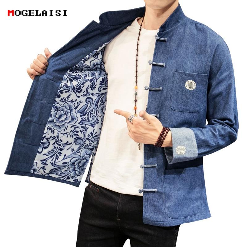 الصينية نمط جاكيتات الرجال الجينز الأزرق المفتوحة غرزة الرجعية سترة الخريف أزرار رجل الملابس التطريز رجل جاكيتات حجم M 5XL-في جواكت من ملابس الرجال على  مجموعة 1