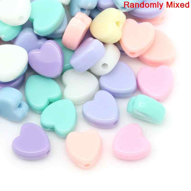 "Acrylic Charm Beads Heart Pastel At Random Color 8mm x 8mm( 3/8""x 3/8""),Hole:approx 1.5mm,80PCs new"