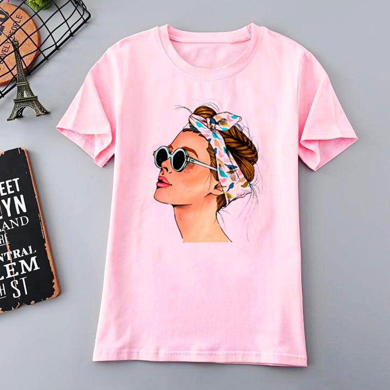 2019 nouveau mode Cool imprimer Femme T-shirt rose blanc femmes t-shirts été esthétique décontracté Harajuku T-shirt Femme hauts