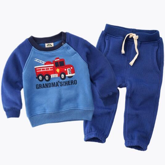 2017spring fashion children boy clothes sets 18M-5Y kids clothes boys child costumes , coat + pant 2 pcs suits children clothing