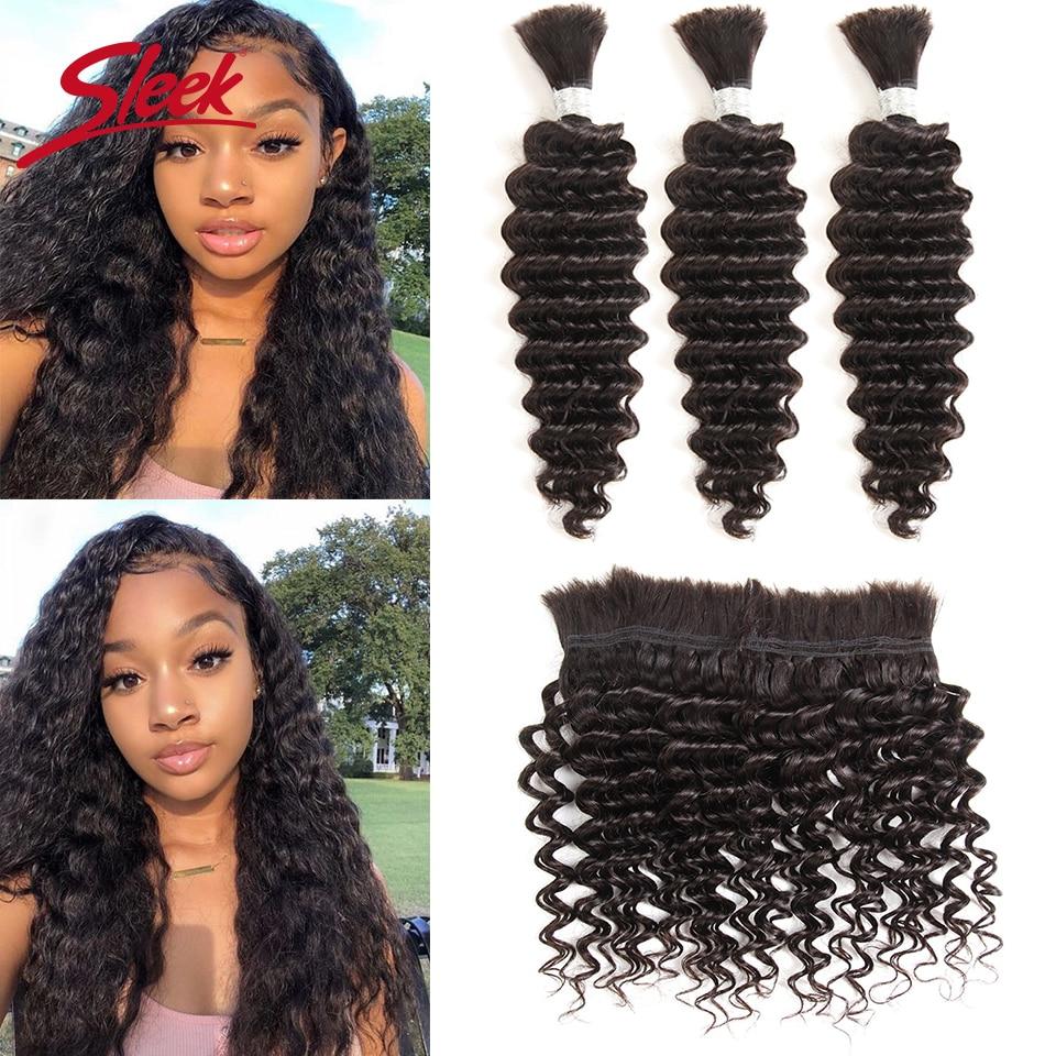 Sleek Remy Human Hair Indian Deep Wave Bundles Hair For Braiding In Natural Color 8 To30 Inch Crochet Braids No Weft Hair Bulk