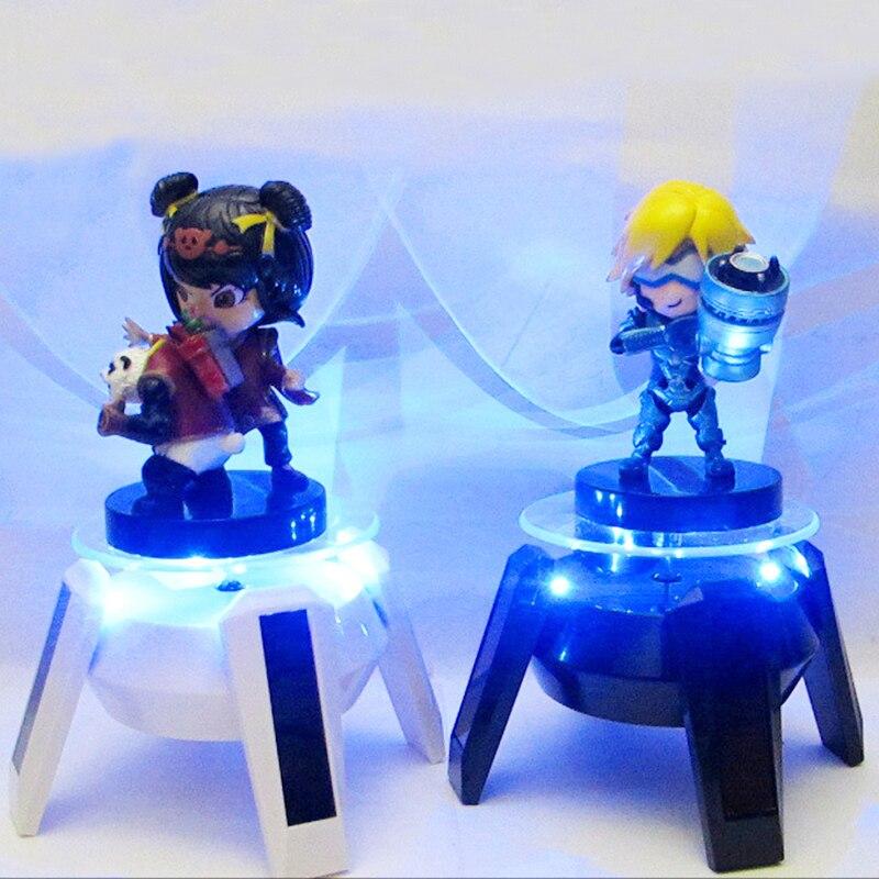 1 PC Solaire Puissance Rotation LED Rougeoyant Action Figure Base Blanc Noir Lumière Flash Affichage Support Dock Figurines À Collectionner