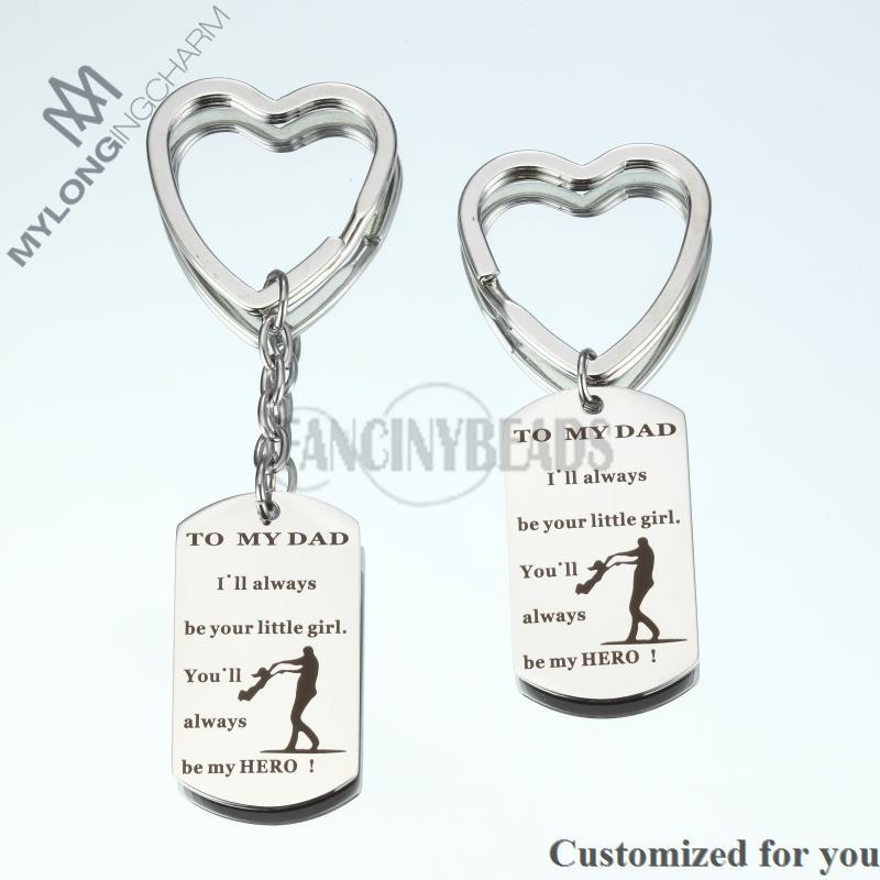 304 Stainless Steel Keychain -1pc Personalized Keychain-TO MY DAD I`ll always be your little girl youll alway father day gift