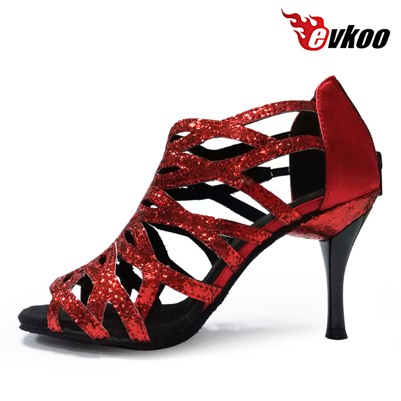Evkoodance Hot New Design Profesjonell Lær Sole Salsa Ballroom 8.5cm Heel Latin Dansesko For Women 5 Colors Evkoo-381
