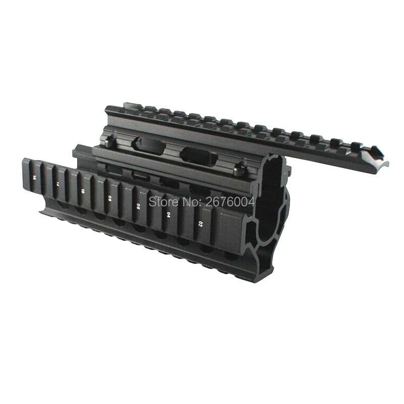 Tactique picatinny rail Handguard Quad Rail Mount Système Fit AK 47 et 74 Avec Avec 12 pcs Ferroviaire Couverture Pour La Chasse tir