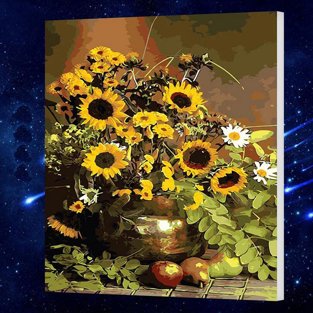 50x65cm Sunflower Diy Digital Painting By Numbers Acrylic Picture ...