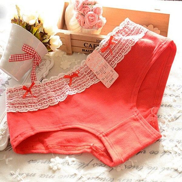 Hot Women Soft Cotton Briefs Solid Color Lace Underwear Panties Knicker Underpants