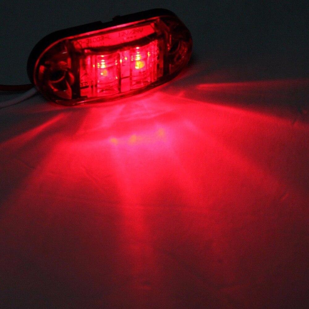 DC 10V-30V Car SUV Truck Trailer Red 2-LEDs Side Marker Light Lamp Super Bright Rear Tail Indicator License Parking Light