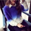 Осень зима кашемировый свитер женщины мода sexy О-Образным Вырезом свитер свободные 100% пушистый шерсть женщин свитера пуловеры