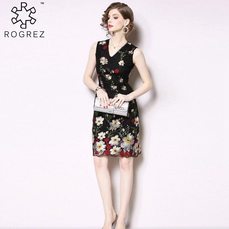 35dae4a2aa2 ROGREZ черный Высокое качество Элегантный Винтаж Цветочный сетки и вышивка  V образным вырезом без рукавов для женщин короткое платье  2019 сезон
