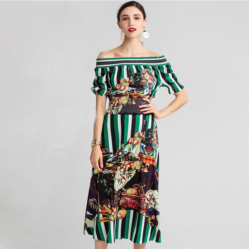Lato kobiety Puff rękawem w paski owoce drukuj na co dzień eleganckie krótkie topy + spódnica dwa zestawy w Zestawy damskie od Odzież damska na  Grupa 1