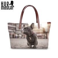 HUE MASTER Women's Handbag Pet Dog Printing Ladies Tote bags Neoprene Cloth Shopping Casual Travel bag Female High Capacity