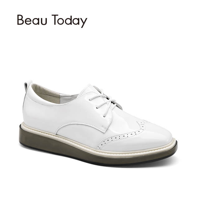 428543b0336d placeholder BeauToday Wingtip Oxfords Shoes Women Lace-Up Genuine Patent  Cow Leather Shoes for Ladies Square