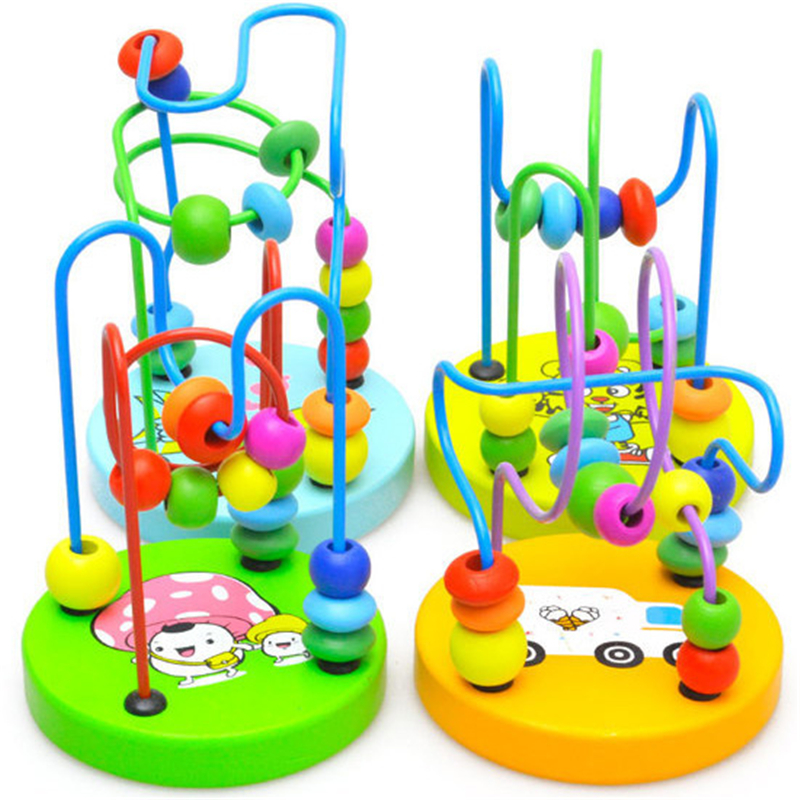 Montessori Wooden Toys Wooden Circles Bead Wire Maze Roller Coaster Wood Puzzles Math Color Educational Toy For Boy Girl Gift