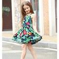 Venta caliente Del Verano Nuevo 2016 de Estilo Europeo Vestido de la Muchacha de Bebé Niñas Flores de Impresión Floral Vestidos de Algodón vestidos de verano para niñas