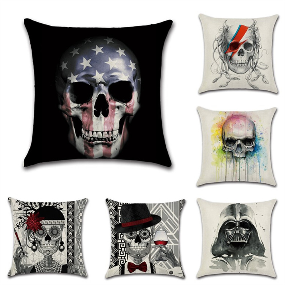 Halloween decoration for Party hous Club skull dead art deora pillow case Cushion Cover seat chair sofa kids boys bedroom gift