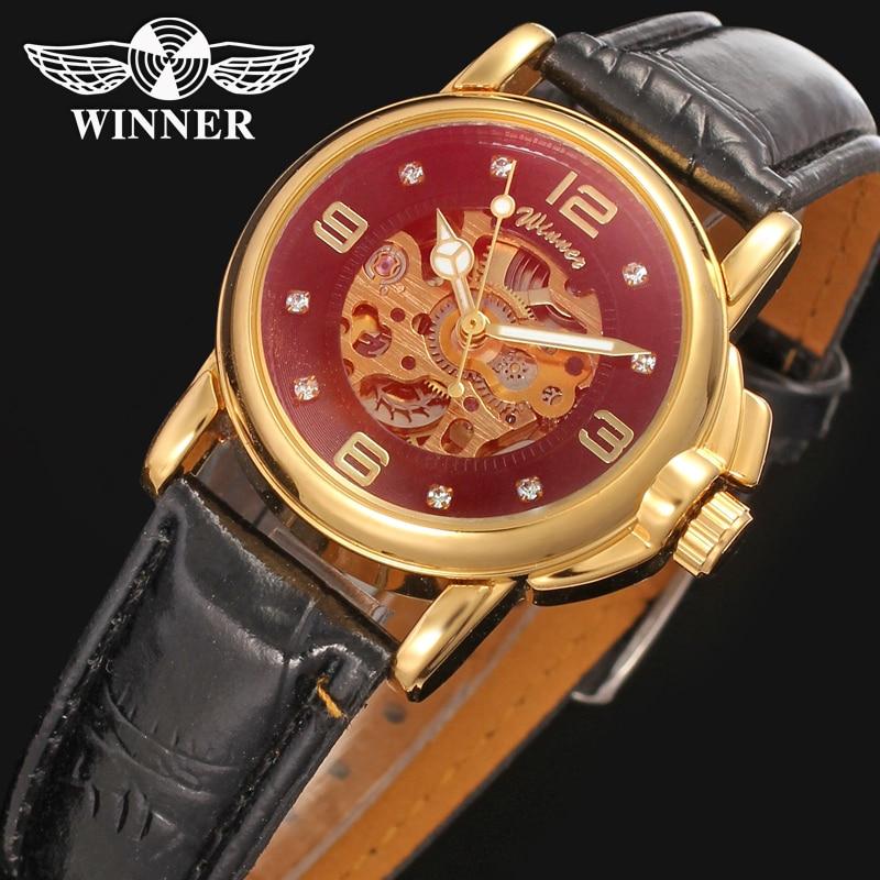 Winner Men's Watch Automatic Lady Watch Fashion Design Leather Strap Fashion Stylish Wristwatch Color Gold WRL8011M3G1