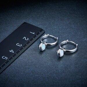 Image 4 - אופל חן קליפ עגילי 925 Jewelrys נשים של עגיל עגול 5mm נוצר אופל רב צבע כסף עגיל קלאסי סגנון מתנות