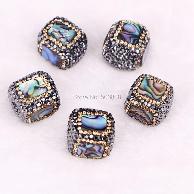 12PCS Square Abalone Paua Shell Beads With Gold & Black Rhinestones - Rainbow Shell Rhinestone Beads