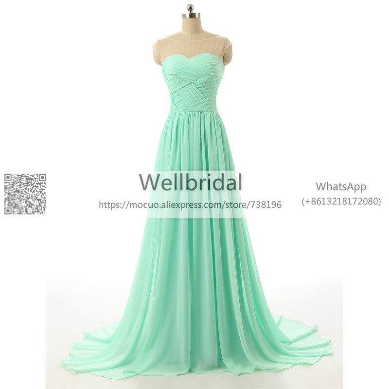 2017 Aqua   Bridesmaid     Dresses   Long Cap Sleeve Sheer Neck Criss Cross vestidos de fiesta Chiffon Formal Prom Party   Dress