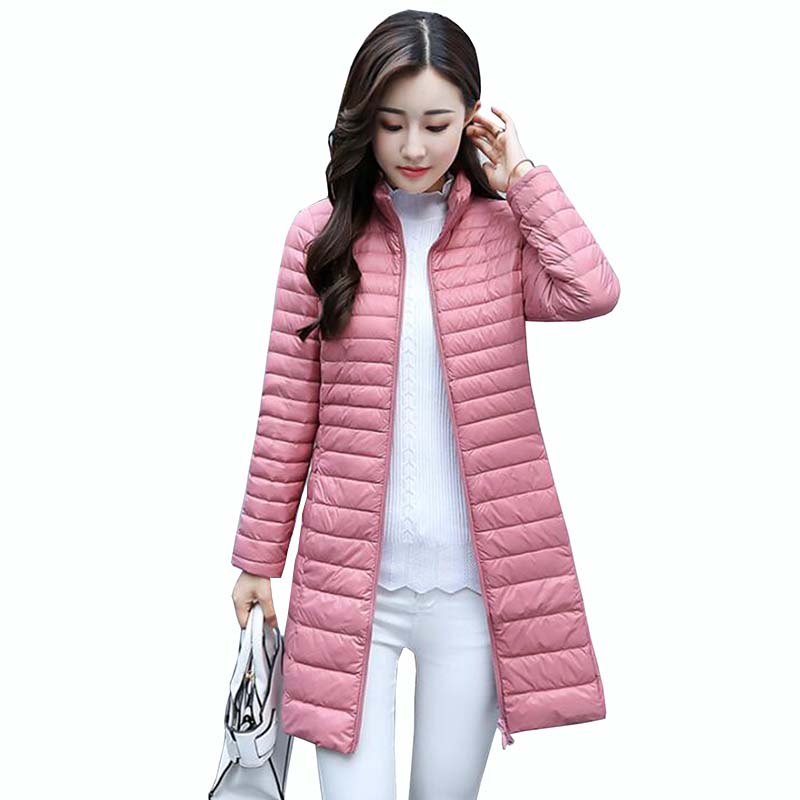 Women's Autumn Winter   Down   Jacket Long Puffer   Coat   New Slim Stand Collar Ultra Thin Plus Size Jackets Women   Down     Coat