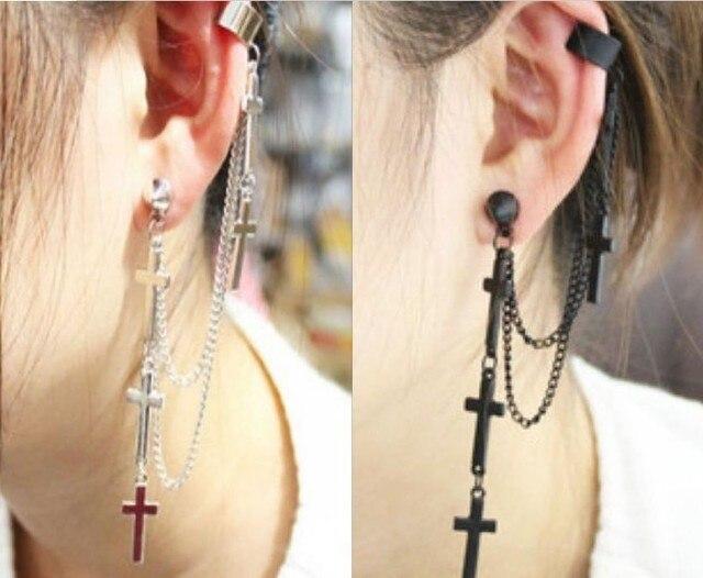 Punk style personality clip earrings New metal tassel cross earrings for women RuYiEHL004