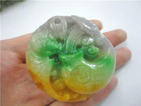 100% Chinese Purple and Green Colour Jadeite Carved Butterfly Round Pendant