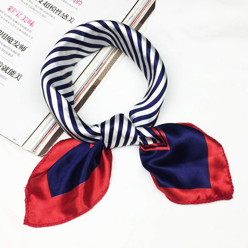 Flag Print Square Scarf  Women Hair Tie Band For Business Party Elegant