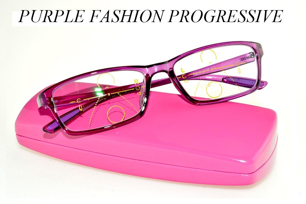 Clara Vida 2018 Novas mulheres de design roxo progressiva com caso alta  qualidade multifocal bifocais óculos f6aab60163