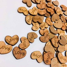 100pcs Love Heart Wooden Confetti Rustic Slices Crafts DIY For Wedding Party Ornaments Table Scatter