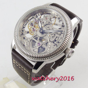 Image 4 - Luxus 44mm PARNIS Hohl herren uhr leucht hände 17 juwelen mechanische 6497 skeleton handaufzug bewegung männer uhr