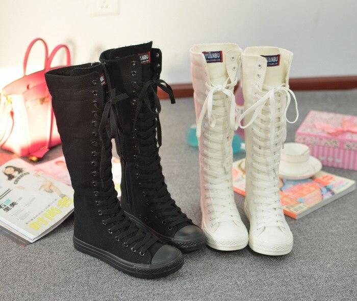 Высокие Женские повседневные сапоги мода Gril парусиновая обувь дышащая Обувь для девочек один колено высокие Обувь