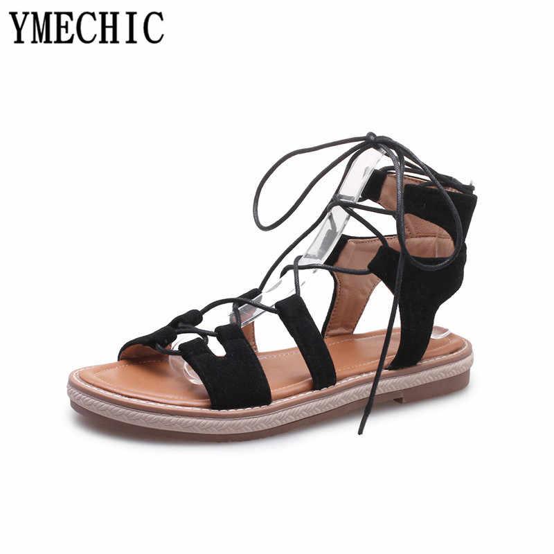 YMECHIC שטוח העקב קרסול גבוהה גלדיאטור סנדלי נשים אתחול קיץ תחרה עד צלב קשור שחור חום מקרית חוף רומא גבירותיי נעליים