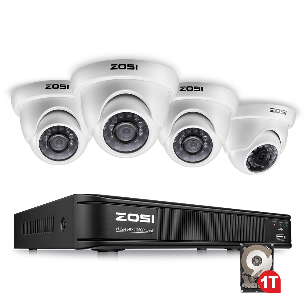 ZOSI 4CH PLEIN 1080 P HD Vidéo Système de Sécurité avec 4x2.0 MP 1080 P Intempéries Dôme caméras de surveillance Kit