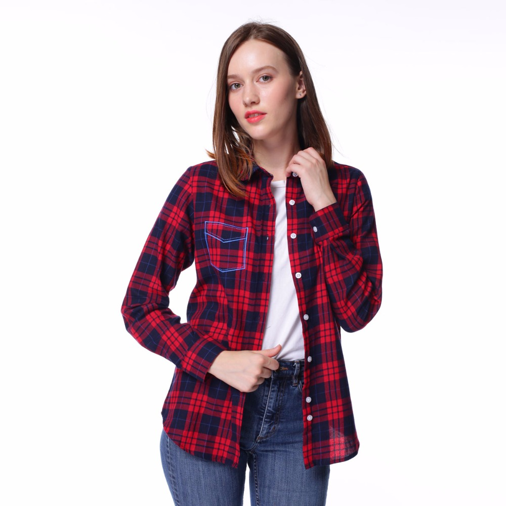 Dioufond new red plaid shirt long sleeve pocket flannel Womens red plaid shirts blouses