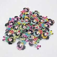 XinDong смешанный цвет 2 отверстия красивая девочка деревянные кнопки ювелирные изделия пошивное ремесло аксессуары с героями мультфильмов Кнопка украшения 7 шт