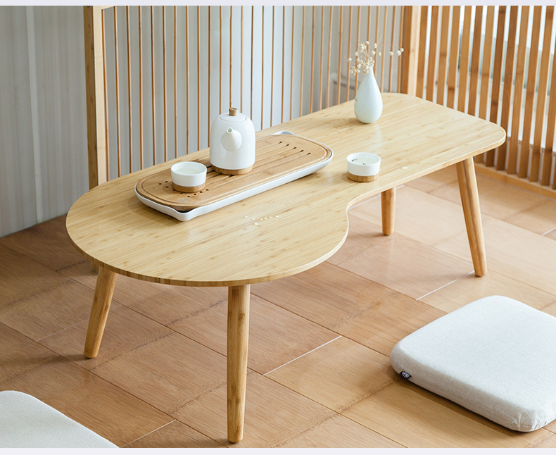 Low Unique Bamboo Coffee Table Modern Design Sofa Side Furniture Living Room Tea Table Vintage Small Bamboo Table Decorations solid pine wood folding round table 90cm natural cherry finish living room furniture modern large low round coffee table design