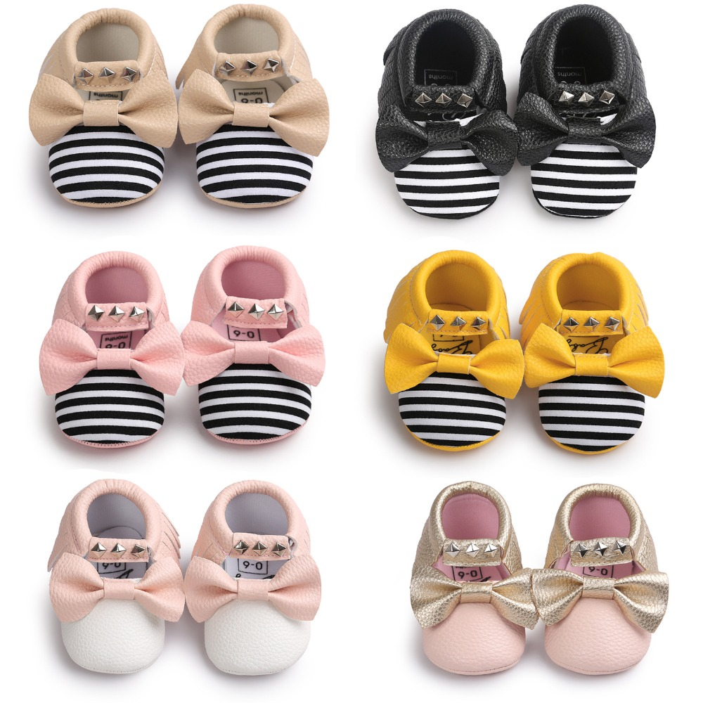 New Fashion Rivet Bow baby Leather moccasins Soft Baby Shoes First Walkers infant schoenen Newborn Boots baby moccasins chaussur