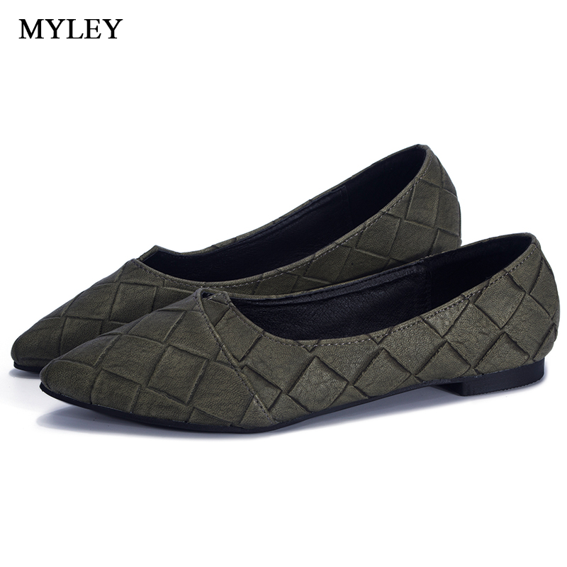 MYLEY Women's Fashion Casual Pointed Toe Low Heel Comfort Soft Slip-On Flats Shoes Driving Shoe Ladies Shallow Footwear 2017 summer new fashion sexy lace ladies flats shoes womens pointed toe shallow flats shoes black slip on casual loafers t033109