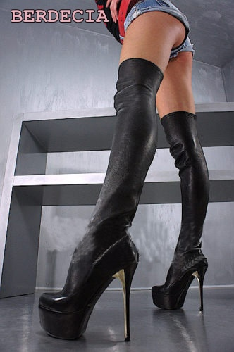 New fashion black leather 16 cm high hell over-the-knee long boots thigh high stiletto heel boots platform high quality shoes come hell or high water